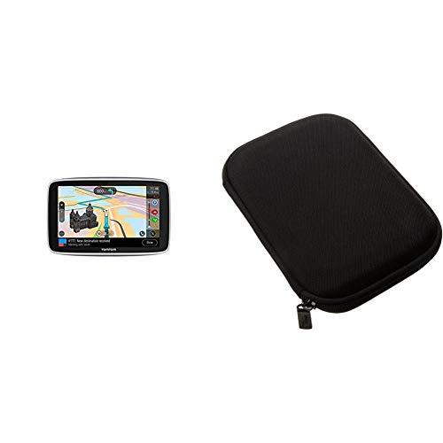 TomTom GO Premium Pkw-Navi (5 Zoll mit Updates über Wi-Fi, Lebenslang Traffic via SIM-Karte, Weltkarten) & Amazon Basics Hartschalenetui für 5-Zoll-Navigationsgeräte, schwarz