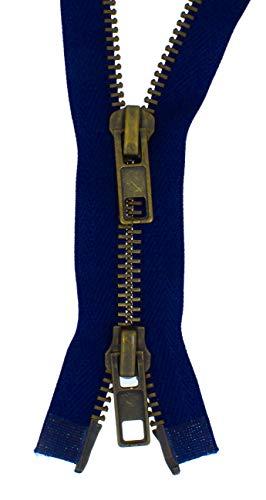 zipworld 2 Wege Reißverschluss Grob Metall Brüniert teilbar 8mm (dunkelblau - 330, 70cm)