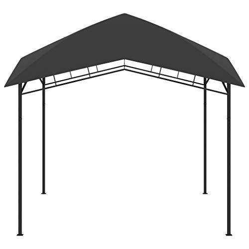 Lasamot Pabellón de jardín con Estructura de Estructura de Acero, pabellón de Estilo para Exteriores, pabellón de reunión Familiar 3x3x2,9 m Antracita y Gris Oscuro