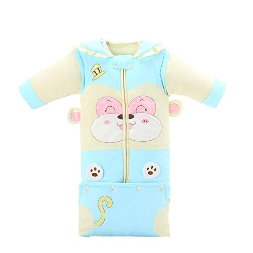CAIYIXIONG Unisex Baby Sleeping Bag Children's Sleeping Bag Blue Detachable Sleeve Autumn and Winter Anti-Kick Quilt 6-18 Months Baby Swaddle Baby Blanket Children's Sleeping Bag