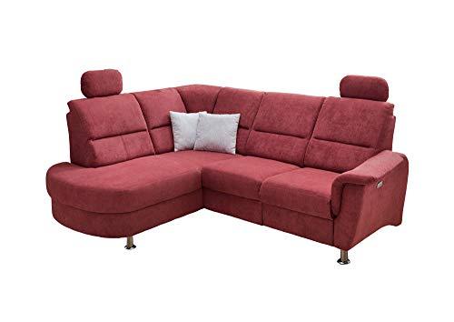 lifestyle4living Funktionssofa in rot, mit elektrischer Relaxfunktion, Verstellbarer Kopfstütze, Staukasten und USB-Anschluss, Aufstellmaß: ca. 231 x 184 cm