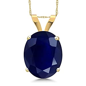 Gem Stone King 14K Yellow Gold Blue Sapphire Pendant Necklace 5.00 Ct Oval Gemstone Birthstone with 18 Inch Chain