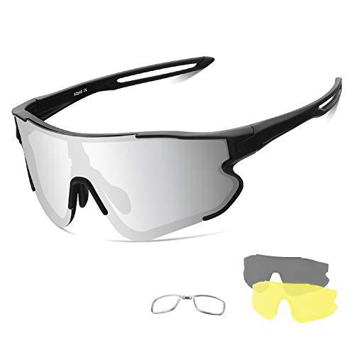 OULIQI Gafas de ciclismo polarizadas deportivas, con protección UV, 3 lentes de recambio para hombre y mujer, para actividades al aire libre como ciclismo, correr, escalada, conducción, pesca, golf