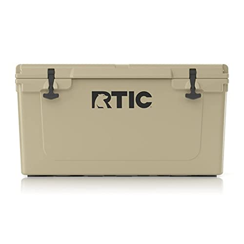 RTIC Hard Cooler 65 qt, Tan, Ice Chest with Heavy Duty Rubber Latches, 3 Inch Insulated Walls Keeping Ice Cold for Days, Great for The Beach, Boat, Fishing, Barbecue or Camping
