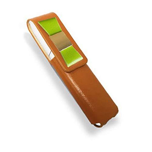 IQOS 3 MULTI 専用 アイコス3 リボン 本革 マルチ ケース (ライトブラウン/グリーンリボン) iQOSケース シンプル 無地 保護 カバー 収納 カバー 全4色 電子たばこ 革