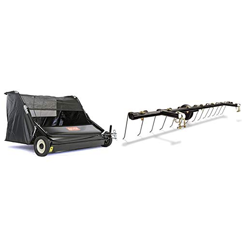 "Agri-Fab Inc 45-0546 52"" Lawn Sweeper, Black & 45-0343 Tine Dethatcher for All Tow Lawn Sweepers"