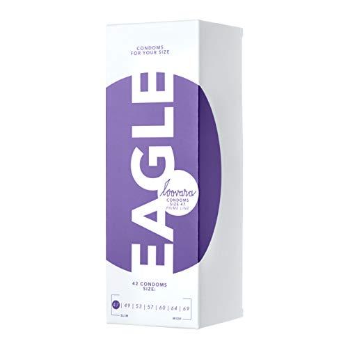 Loovara 42 Kondome in individuellen Größen - Kondomgröße 47 - Size Eagle - Kondome dünn aus Fair Rubber - Für mehr Fun & Feeling beim Sex - Vegane Präservative im 42er Pack