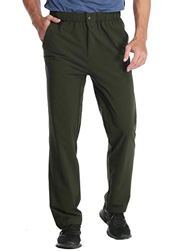 MIER Men's Stretch Hiking Pants Elastic Waist Lightweight Travel Jogger Trousers, Water Resistant, Quick Dry, Army Green, S