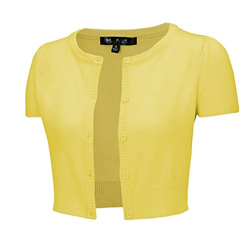 YEMAK Women's Cropped Bolero Button Down Short Sleeve Cardigan Sweater CB0536-BYL-L Baby Yellow