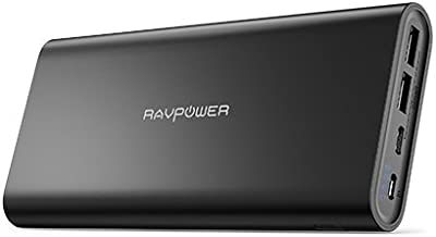 USB C Portable Charger RAVPower 26800mAh Dual Input Port Battery Pack (5V/3A Type-C Port) External Phone Charger for Iphone 11/Pro/Max, iPad, Galaxy and 2019 MacBook (Black)