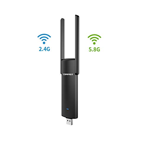 XMAGG® Adaptador WiFi USB 3.0 Adaptador Antena 1200Mpbs Dual Band Receptor WiFi 2 Antenas WiFi de 5dBi para PC con Windows XP, WIN7,8, 10