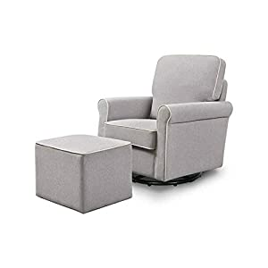 Swivel Glider and Ottoman in Gray with Cream-Rocking Chair-Rocking Chair for Nursery-Baby Rocker-Glider Rocker with Ottoman-Glider Rocker-Rocker Recliner-Nursery Rocking Chair-Rocking Chairs