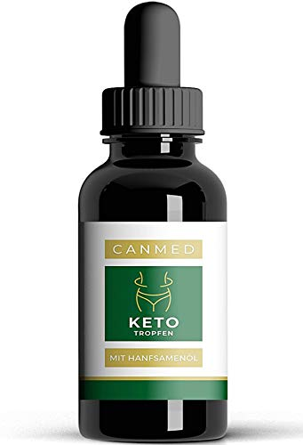 CANMED® KETO Tropfen für die Ketose | KETOGEN Tropfen | Ketogene Diät | 100% Natürlich | Hanfsamenöl mit Mariendistel und MCT Öl | Starke Bitterstoffe | Vegan | Stoffwechsel | 10 ml