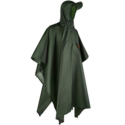 Andake Regenponcho, Herren Damen Unisex Regenjacke, Wasserdicht Winddicht knitterfrei wiederverwendbar Regenmantel - Grün