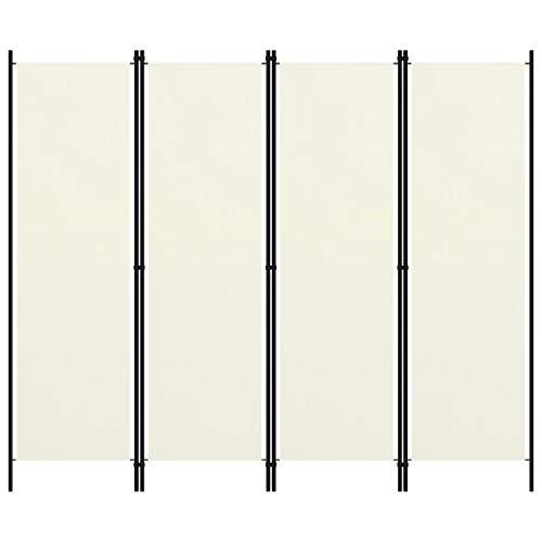 vidaXL Raumteiler Klappbar Freistehend Trennwand Paravent Umkleide Sichtschutz Spanische Wand Raumtrenner 4 TLG. Cremeweiß 200x180cm Eisen Stoff