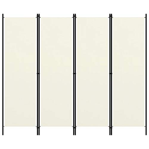 vidaXL Paravento a 4 Pannelli Divisorio Separè Byobu Pieghevole Schermo Separatore Ambienti Interni Protezione Privacy Bianco Crema 200x180 cm