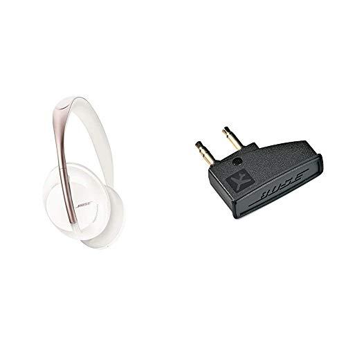 Auriculares inalámbricos Bluetooth Bose Noise Cancelling Headphones 700, con Control por Voz de Alexa, Soapstone + Bose QuietComfort 3 - Adaptador para avión