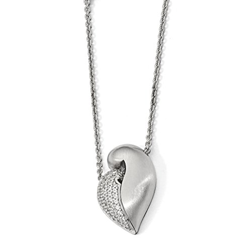 Venture Petra Azar Collection 925 Sterling Silver Rhodium-Plated Polished & Satin Created Sapphire Magnetic Heart Adjustable Necklace