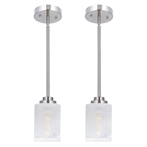 1-Light Mini Pendant Light Fixtures, Modern Indoor Adjustable Height Pendant Lighting for Kitchen Island 2-Pack, APSEKOKA Brushed Nickel Pendant Lights with White Linen Frosted and Clear Glass Shades