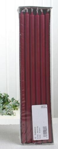 Stabkerzen, 30 x 1,2 cm Ø, 12er-Pack, altrot-bordeaux
