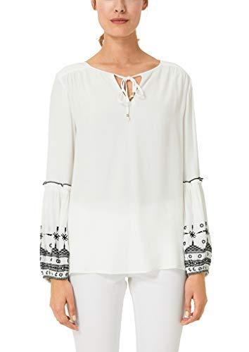 s.Oliver BLACK LABEL Damen Bestickte Tunika im Ethno-Look Pearl White 34