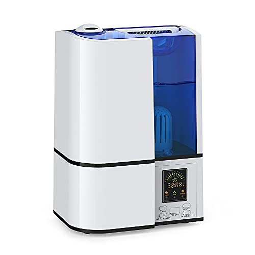 Humidifier for Bedroom, 4L Ultrasonic Cool Mist Humidifier for Large room, Humidistat, LED Display, Auto Shut-Off, Night Light, Whisper Quiet, Adjustable 360° Rotation Nozzle, Humidifiers for Babies Nursery Whole House (Blue)