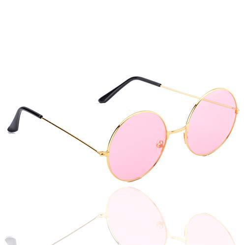 TK Gruppe Timo Klingler Hippie Brille Sonnenbrille rund rosa Accessoires für Fasching & Karneval - 70er 80er Jahre Zubehör wie John Lennon