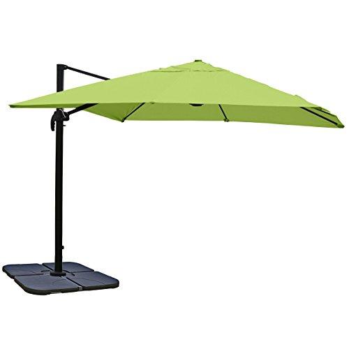 Mendler Gastronomie-Ampelschirm HWC-A96, Sonnenschirm, 3x3m (Ø4,24m) Polyester/Alu 23kg - grün mit Ständer, drehbar