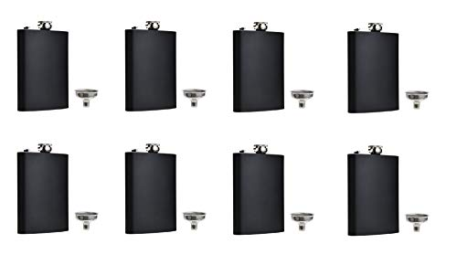 FF Elaine Black Flask Stainless Steel with Funnel,8 oz, Set of 8