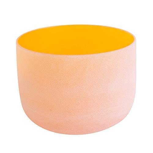 ENERGYSOUND 432 Hz Tono perfecto Esmerilado D Sacra Chakra Cuarzo de cristal de color naranja Cuenco para cantar 25 cm ---- Terapia de yoga Curación con sonido