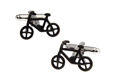 DOLOVE Hemd Manschettenknöpfe Herren Personalisiert Fahrrad Manschettenknöpfe Schwarz Silber