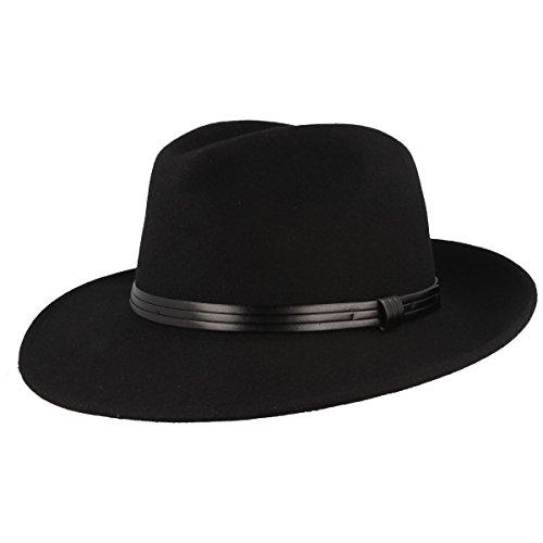 Wegener Herren Hut Treveller 100% Wolle Fedora Bogarthut Klassiker Damenhut Herrenhut Gr. 54 - 61 Farbe Schwarz