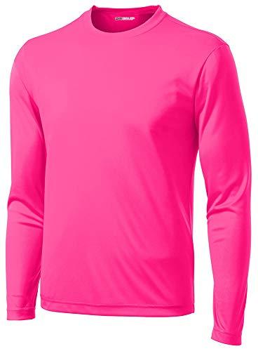DRI-Equip Long Sleeve Moisture Wicking Athletic Shirt-Large-NeonPink