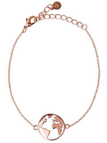 VIASOUL® Armband Weltkarte I Weltkugel für Damen I Mit 585er Gold überzogen I Die Original Welt Kette (Rose)