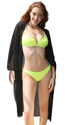 SHEKINI Damen Sommer Strandkleid Cover Up Kurzarm V Ausschnitt Bikinikleid Weiss Locker Tunika Kleid (Schwarz)
