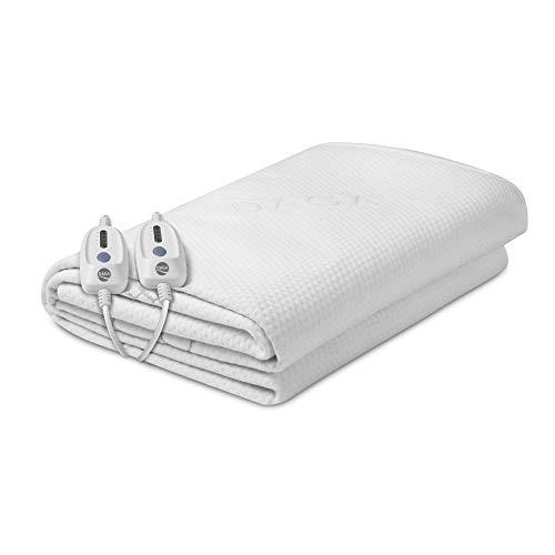 Daga Flexy-Heat CMN Protect Scaldino da letto, 2 termoregolatori, 4 livelli e potenza 100W. Doppia funzione: scaldaletto e protezione impermeabile, Bianco, 190x150