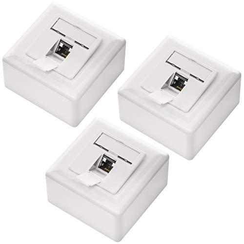 deleyCON 3X CAT6 Universal Netzwerkdose - 1x RJ45 Port - Geschirmt - Aufputz oder Unterputz - 1 Gigabit Ethernet Netzwerk - EIA/TIA 568A&B - Weiß