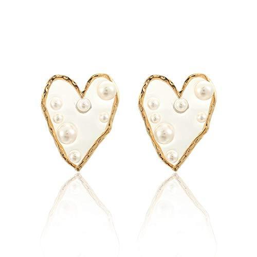 FEARRIN Pendientes de Oro Vintage Pendientes Bijoux Boucles D'oreilles Pendientes de botón de corazón de Amor Grande Transparente para Mujer Pendiente de Perlas geométricas Joyería de Boda Oro