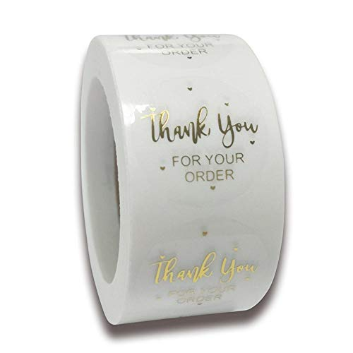 500pcs Thank You Labels Stickers Foil Thank You for Supporting My Small Business Round Adhesive Labels Decorative Sealing Stickers Retail Stickers for Envelopes Paper Bags Gift Bags