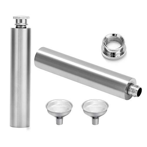 2個セットスキットルヒップフラスコステンレススチール製2オンス携帯用スキットルウイスキー清酒ボトル鏡面仕上げヒップフラスクチューブ型漏斗付きミニ2oz/60ml