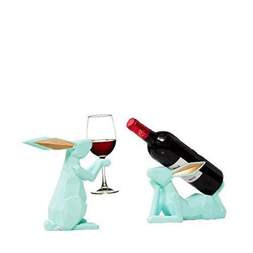 ShiSyan Resina Decoraciones del hogar del Arte del Arte del Vino Conejo decoración Estante del Vino Rojo salón Comedor Mesa de su casa