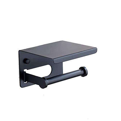 Z-Color Soporte de Papel higiénico Negro Mate, Accesorios de baño Decoración 304 Soporte de Toalla de Papel Moderno de Acero Inoxidable Plus Plus Teléfono Celular Estante de Almacenamiento de Pared