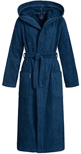 Morgenstern Damen Bademantel Baumwolle mit Kapuze Blue Kapuzenbademantel Frauenbademantel wadenlang Bio Baumwolle Größe M dunkelblau