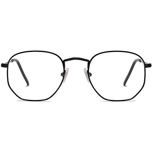 SOJOS Blaulichtfilter Brille Computerbrille Blaulicht Blokierende Brille Polygon Linse SJ5036 Schwarz