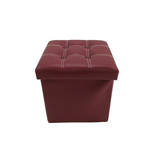 Rebecca Mobili Puff rojo, puf cuadrado color burdeos, accessorio ahorra espacio en...