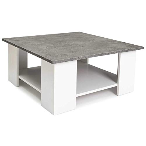 IDMarket - Table Basse carrée ELI Blanche Plateau Effet béton