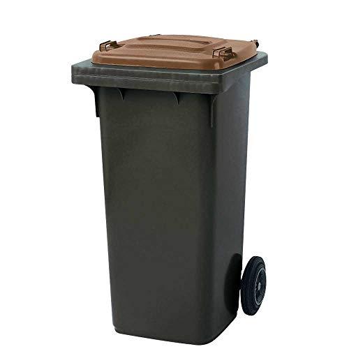BRB 120 liter MGB vuilnisbak, grijs met bruin deksel