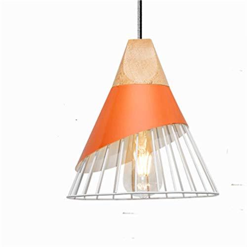 Newest Moderna madera colgante luces lamparas colorido hierro lámpara sombra luminaria comedor luces luces colgante para iluminación casera lámparas de pared lámparas de pared (Body Color : Orange)