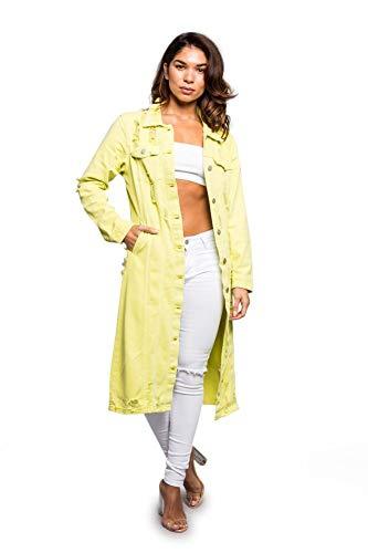 American Bazi Women's Long Button Down Distressed Denim Jean Jacket RJK3205 - Lime - Small - E4B