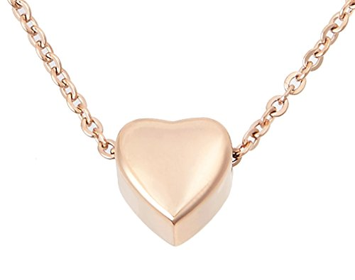 Zoey Jewelry Small Floating Heart Cremation Urn Pendant Ashes Memorial Necklace (Rose Gold)